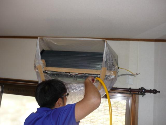 家庭用壁掛けエアコン清掃