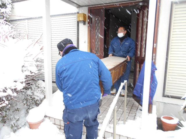 雪の日の家財整理