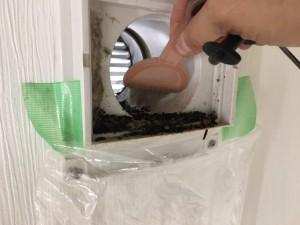 自然換気口のコウモリ糞清掃